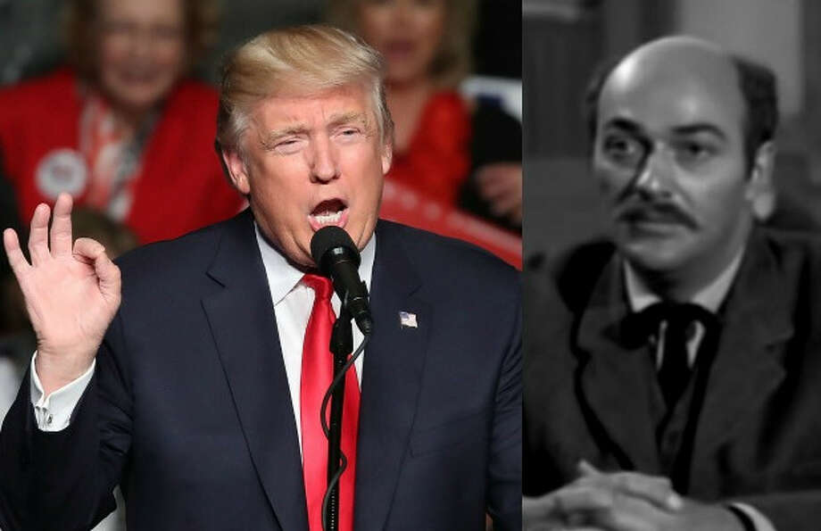 """An episode of the 1950s western TV series """"Trackdown"""" featured a snake oil salesman named Trump (right) who promised to build a wall to protect a town."""
