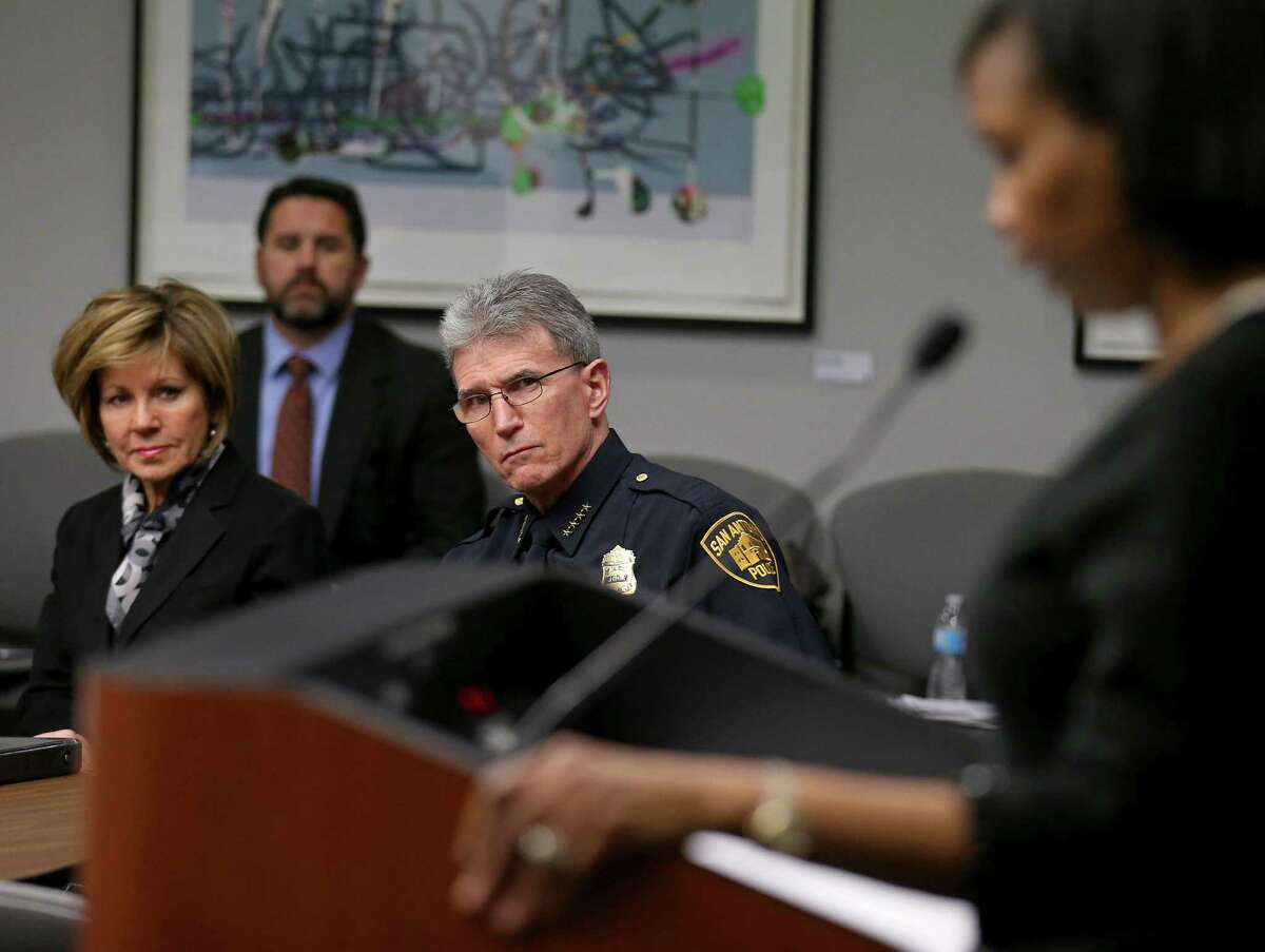 """""""I hope that this group will spark and initiate community efforts that support strong relationships with our officers,"""" Mayor Ivy Taylor said at the meeting. Mayor Ivy Taylor addresses the group, which included City Manager Sheryl Sculley and Police Chief William McManus."""