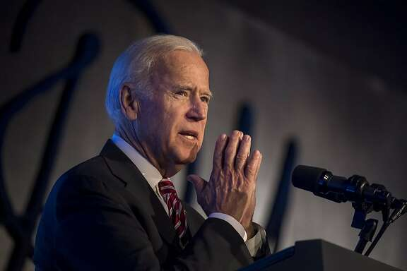 """U.S. Vice President Joseph """"Joe"""" Biden speaks during the JPMorgan Healthcare Conference in San Francisco, U.S., on Monday, Jan. 9, 2017. Investors focused on drug pricing and health-care law changes, deployment of capital toward M&A, innovation and R&D productivity, tax changes, and regulatory environment at the FDA. Photographer: David Paul Morris/Bloomberg"""