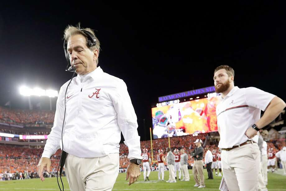 TAMPA, FL - JANUARY 09:  Head coach Nick Saban of the Alabama Crimson Tide reacts after the Clemson Tigers defeated the Alabama Crimson Tide 35-31 in the 2017 College Football Playoff National Championship Game at Raymond James Stadium on January 9, 2017 in Tampa, Florida.  (Photo by Jamie Squire/Getty Images) Photo: Jamie Squire, Getty Images
