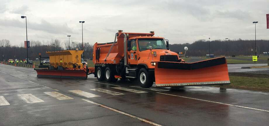This winter, the Connecticut Department of Transportation will be using three supersized snowplows that are capable of clearing two highway lanes in a single pass. Mounted lasers will help prevent the wide blows from hitting obstances, or vehicles.Towed in the rear of a truck, the plows measure 26 feet in length, essentially doubling the width of a single plow truck when in operation. Photo: ConnDOT / Connecticut Department Of Transportation
