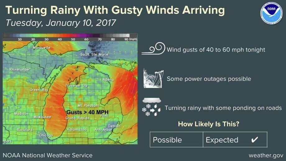 Expect high winds tonight. Photo: National Weather Service, Grand Rapids