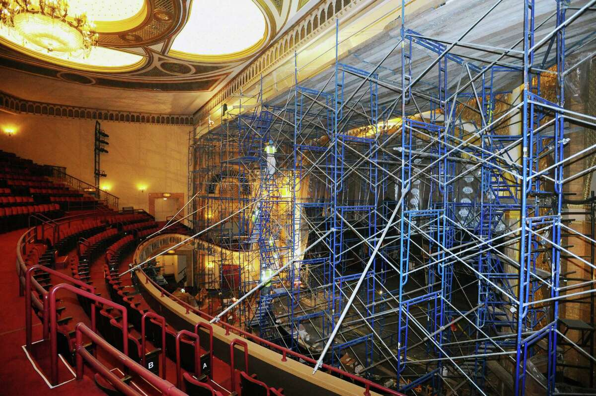 61 Atlantic St.: The Palace Theatre in downtown Stamford has been getting an indoor face lift since mid-December. A crew from New York City-based EverGreene Architectural Arts worked on scaffolds well above the main stage Monday to recreate the look that first debuted in the late 1920s. The project, which includes some plaster and paint restoration, is expected to wrap up in time for weekend performances. The budget for the plaster and finishing preservation work is about $140,000, according to Randy Thomas, director of production and facilities at the Palace Theatre. It is being funded by the city, as part of its 2015-16 capital budget. Have a question about a building or property? Email Nora Naughton with