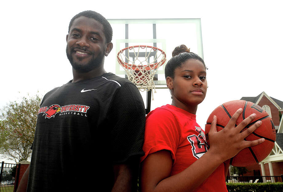 Lamar University freshman basketball player Ashlan Miles didn't know when she signed last spring that her brother Cameron Miles would be joining her during her first season with the Lady Cardinals. Cameron serves as the director of operations for the team while pursuing his master's degree. Photo taken Wednesday, December 14, 2016 Kim Brent/The Enterprise Photo: Kim Brent / Beaumont Enterprise