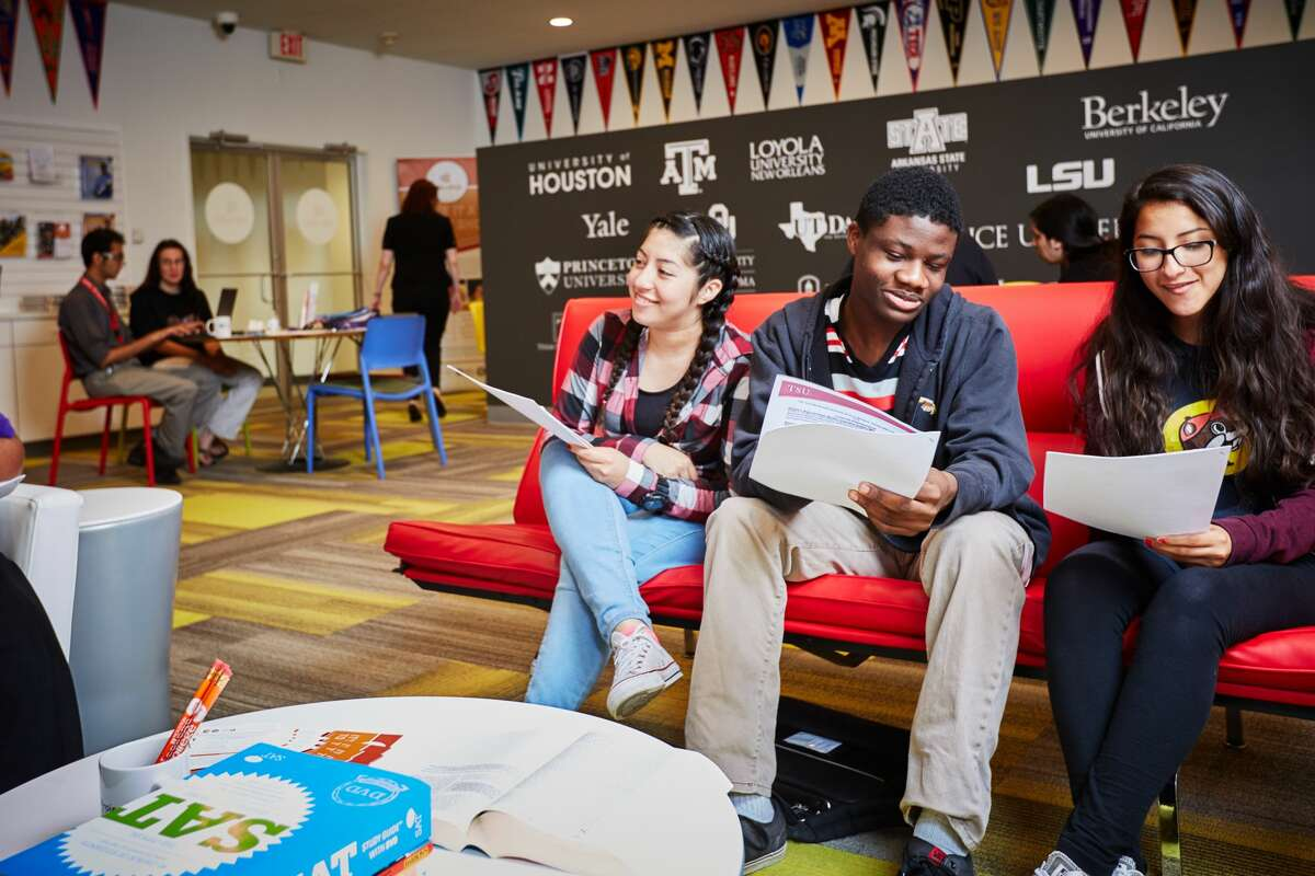 Local high school students attend a college preparation workshop in April at Cafe College, a resource center at the Carnegie Neighborhood Library that opened in December 2015.