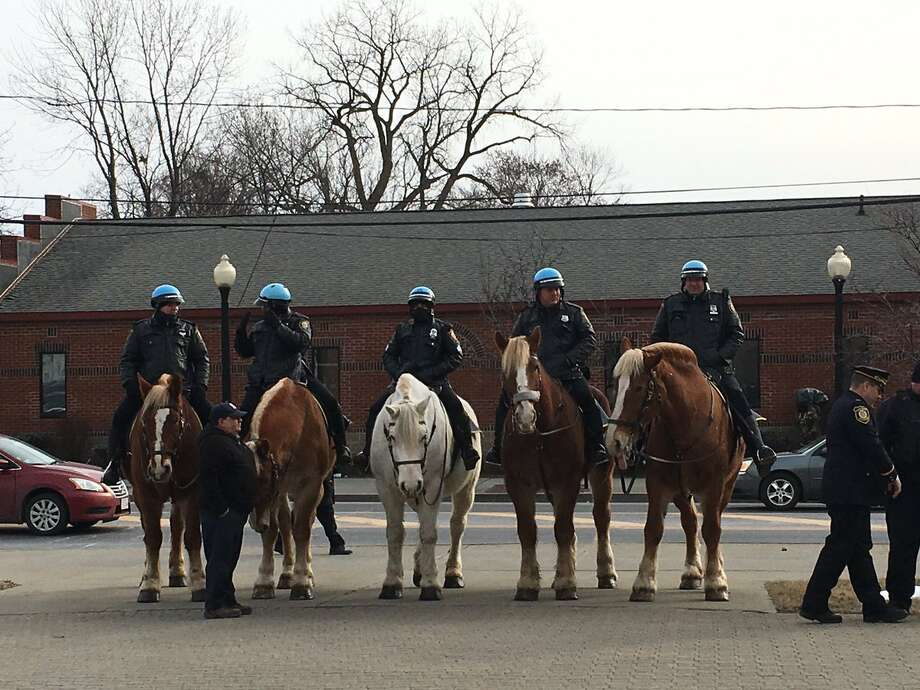 Police on horseback line up for the final salute to Albany Police Chief Brendan Cox who is retiring Tuesday. (Emily Masters / Times Union)