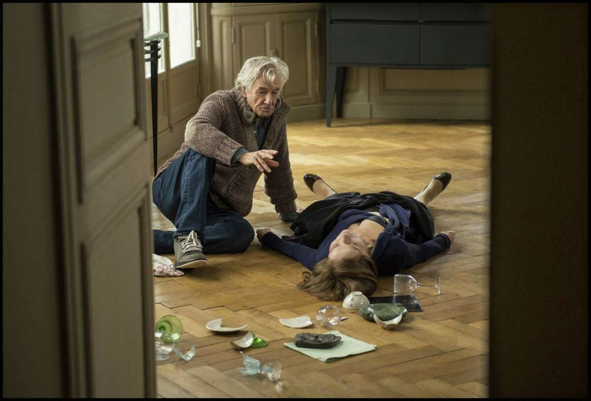 """Verhoeven works with Huppert on the set of """"Elle."""""""