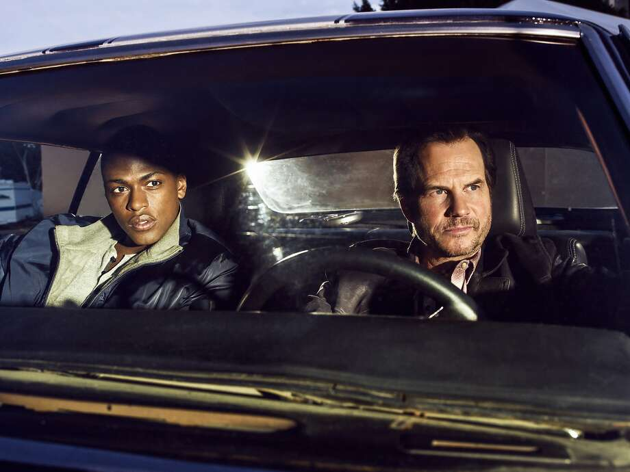 Bill Paxton (right) plays a rogue cop with an upstanding partner (Justin Cornwell). Photo: CBS Television, CBS