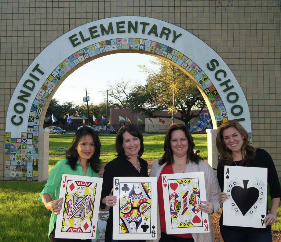 Condit Elementary School is hosting a fundraising gala at  7 p.m. Feb. 25 at the HESS club and all profits will go to the school.  The theme is Casino Royale and will include a dinner buffet, dancing, silent auction, casino games with a prize raffle and a wine pull. Ticket prices are $125 per person and can be purchased on the Condit PTO website at www.conditpto.org .   Dress is cocktail attire  The event is co-chaired by, from left, Esther Puig, Kelly Marx, Michal Lutfak and Meredith Reyes.  The gala committee is still looking for event sponsors and auction items to be donated for the event and anyone interested can contact  Lutfak at mitchh19@yahoo.com or go to the Condit PTO website. Photo: Condit Elementary School PTO