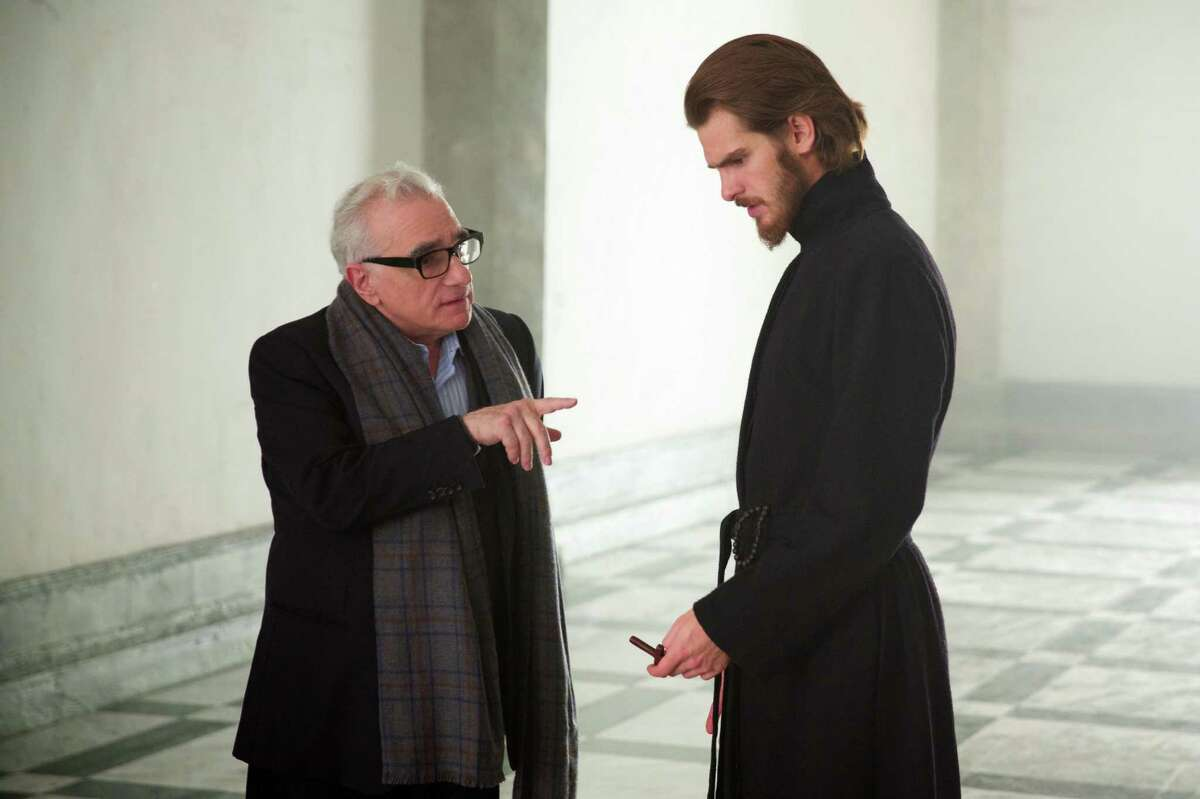 """Director Martin Scorsese works with Garfield on the set of """"Silence."""""""