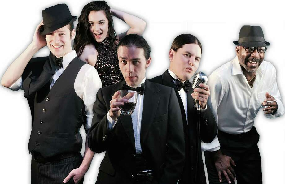 "Ol' Blue Eyes (Ryan Guerra, left) and the rest of the Rat Pack (from left, Lauren Mitchell, Sean Salazar, Chad Collins and Dwight Robinson) are sent back to earth in ""Rat Pack Lounge."" Photo: Courtesy Nancy Doan"