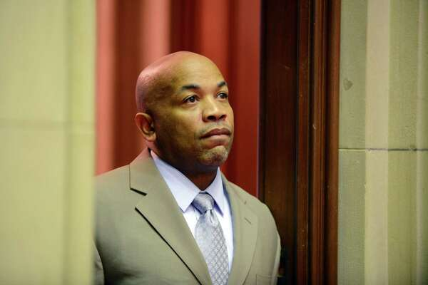Assembly Speaker Carl Heastie scans the Chamber from the doorway of his adjoining office before the start of session Monday afternoon, March 30, 2015, at the Capitol in Albany, N.Y. (Will Waldron/Times Union)