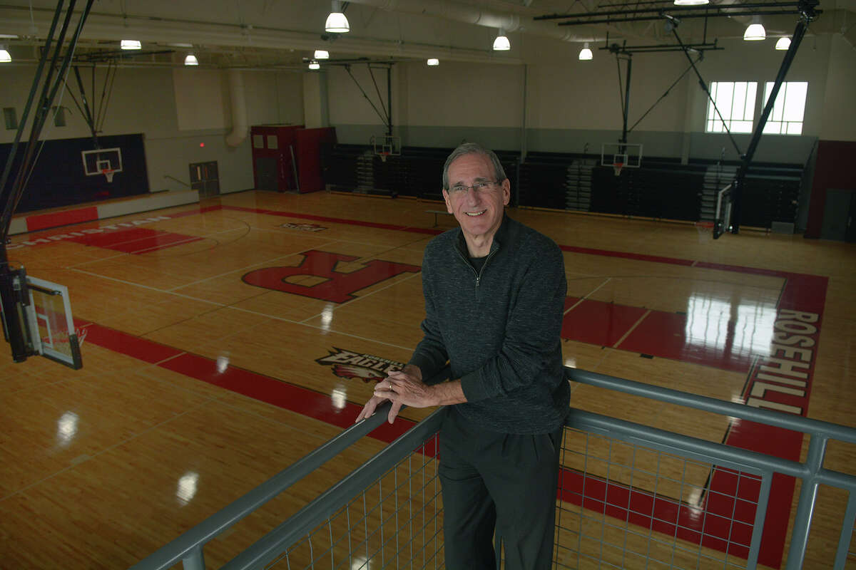 Dean Unsicker, head of school at Rosehill Christian School in Tomball, shows off the view of the school's new college-sized gymnasium from a classroom balcony.