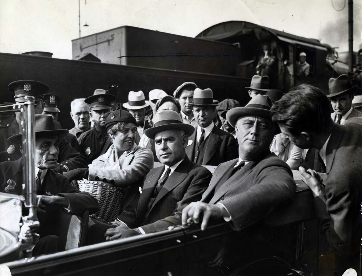 Eleanor Roosevelt, left, Lt. Gov. Herbert Lehman, center, and Gov. Franklin Delano Roosevelt, right, arrive in Albany Oct. 10, 1932, in Albany, N.Y. (Times Union archive)