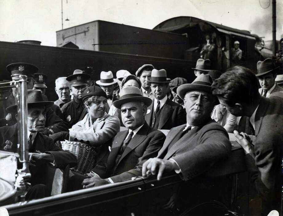 Eleanor Roosevelt, left, Lt. Gov. Herbert Lehman, center, and Gov. Franklin Delano Roosevelt, right, arrive in Albany Oct. 10, 1932, in Albany, N.Y. (Times Union archive)