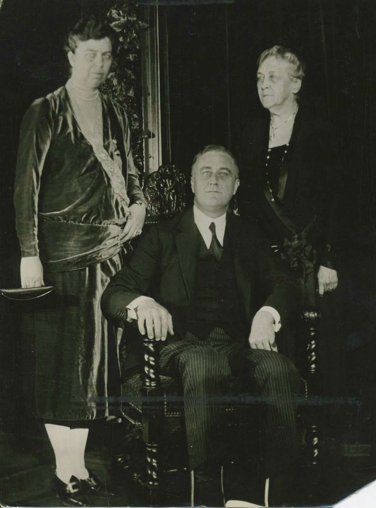 New York Governor Franklin Delano Roosevelt, center, wife, Eleanor Roosevelt, left, and mother, Sara Ann Delano, right, dated Jan. 6, 1930, unknown location. (Times Union archive)