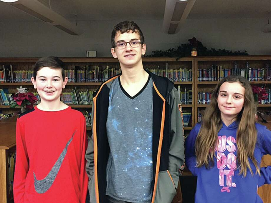 Pictured are Jameson McKnight, third place, Clay Evans, second place, and Madelyn Haldane, first place. (Submitted photo)