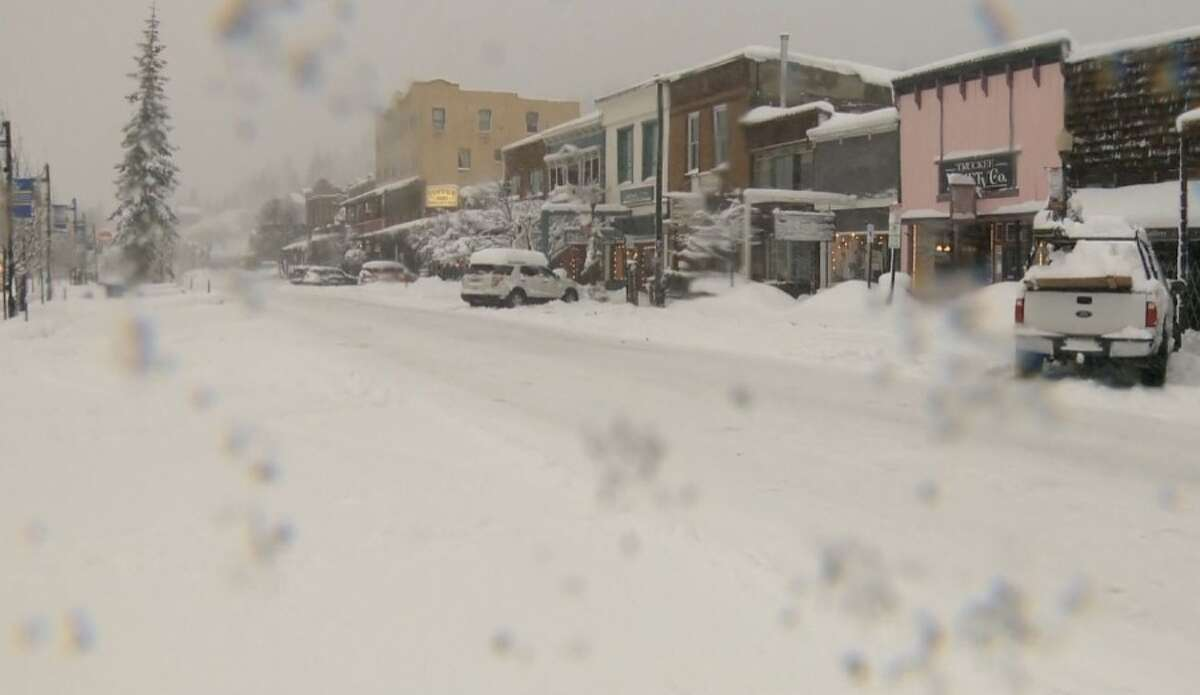 Downtown Truckee looks like a winter wonderland as feet of snow continue to fall in the Sierra.