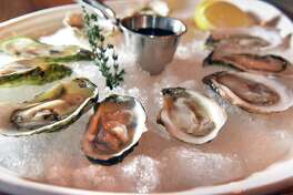 An oyster sampler served with a lemon wedge and house Mignonette sauce at the Plumb Oyster Bar Thursday Jan. 5, 2017 in Troy, NY.  (John Carl D'Annibale / Times Union)