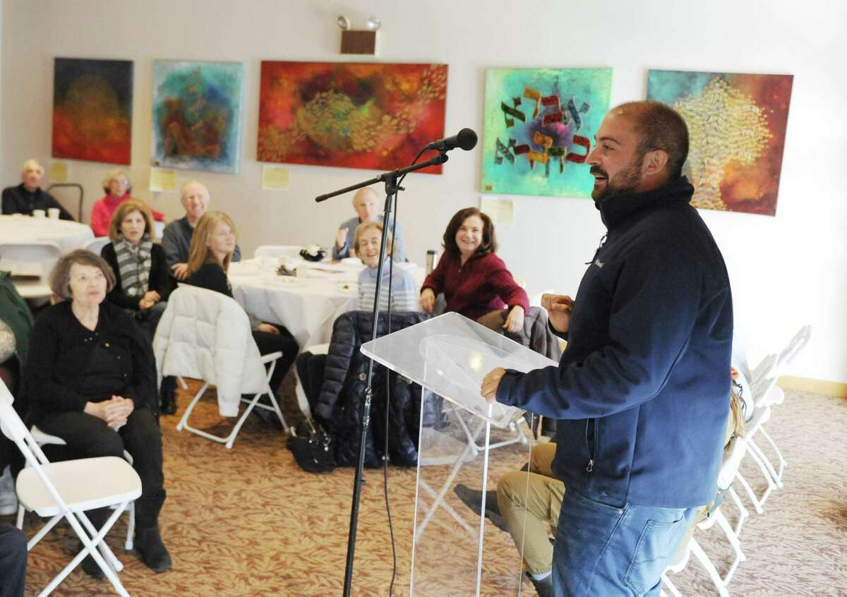 Israel Defense Forces soldier, Captain Ohad, 24, speaks at Temple Sholom in Greenwich, Conn. Tuesday, Jan. 10, 2017. Four active duty IDF soldiers spoke about their roles in the service, specific missions they took part in, and addressed the political climate and current events in Israel.