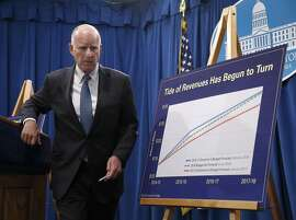 Gov. Jerry Brown wraps up a news conference at the State Capitol after releasing a summary of his proposed 2017-18 budget in Sacramento, Calif. on Tuesday, Jan. 10, 2017.