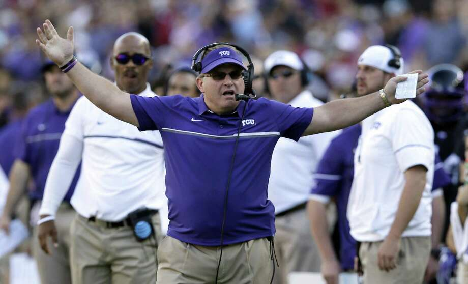 TCU coach Gary Patterson reacts to a play against Oklahoma in Fort Worth on Oct. 1, 2016. Photo: L. M. Otero /Associated Press / Copyright 2016 The Associated Press. All rights reserved.