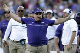 TCU coach Gary Patterson reacts to a play against Oklahoma in Fort Worth on Oct. 1, 2016.