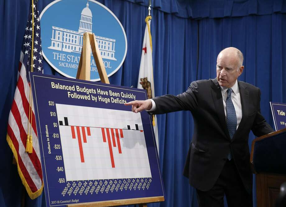 Gov. Jerry Brown provides details of his proposed 2017-18 fiscal budget during a news conference at the State Capitol in Sacramento, Calif. on Tuesday, Jan. 10, 2017. Photo: Paul Chinn, The Chronicle