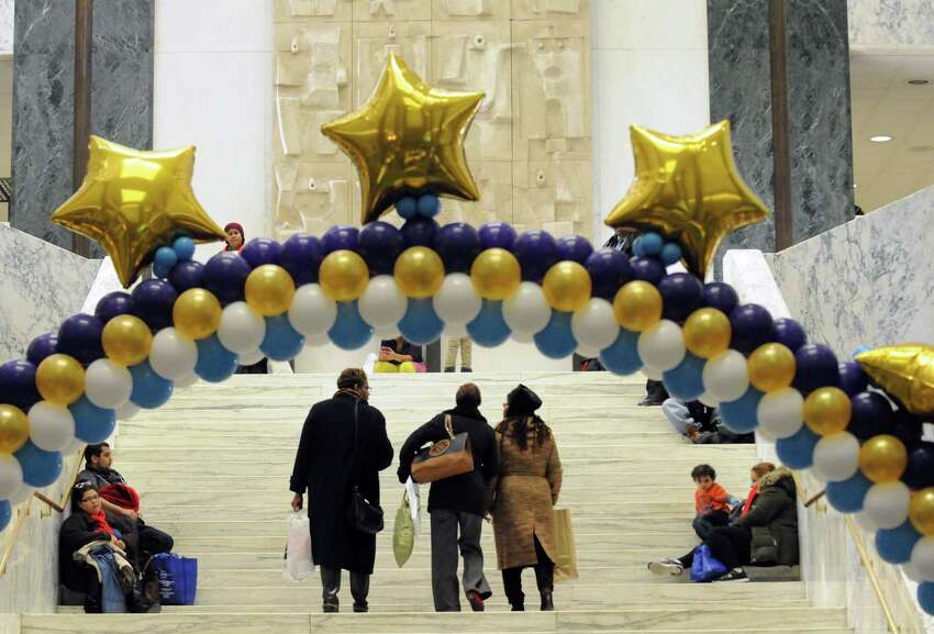 The Well of the Legislative Office Building a buzz with activity during the NYS Association of Black and Puerto Rican Legislators caucus weekend on Saturday Feb. 13, 2016 in Albany, N.Y. (Michael P. Farrell/Times Union)