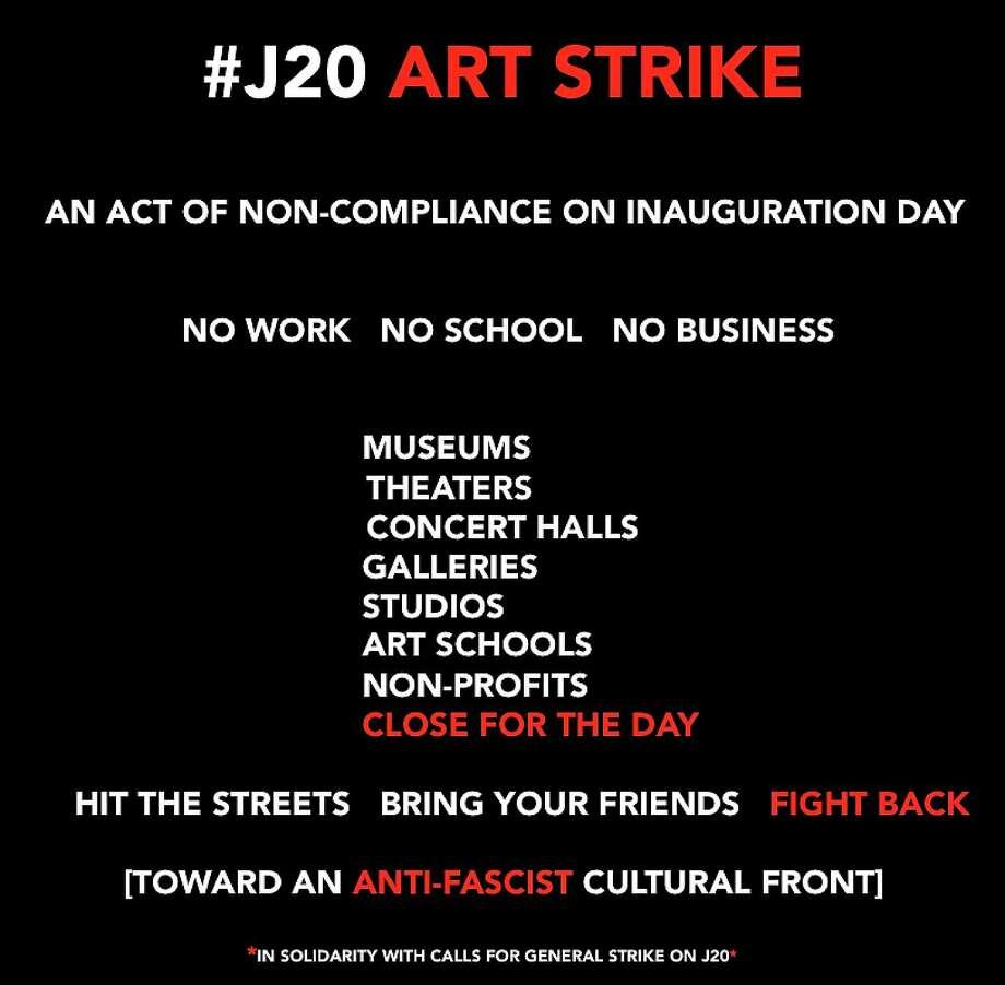 The Art Strike announcement. Photo: J20 Art Strike