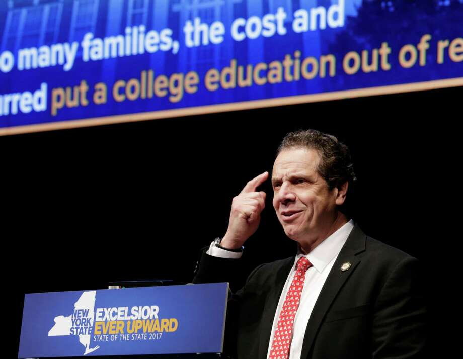 New York Gov. Andrew Cuomo delivers one of his state of the state addresses at SUNY Purchase in Purchase, N.Y., Tuesday, Jan. 10, 2017. (AP Photo/Seth Wenig) Photo: Seth Wenig / Copyright 2017 The Associated Press. All rights reserved.