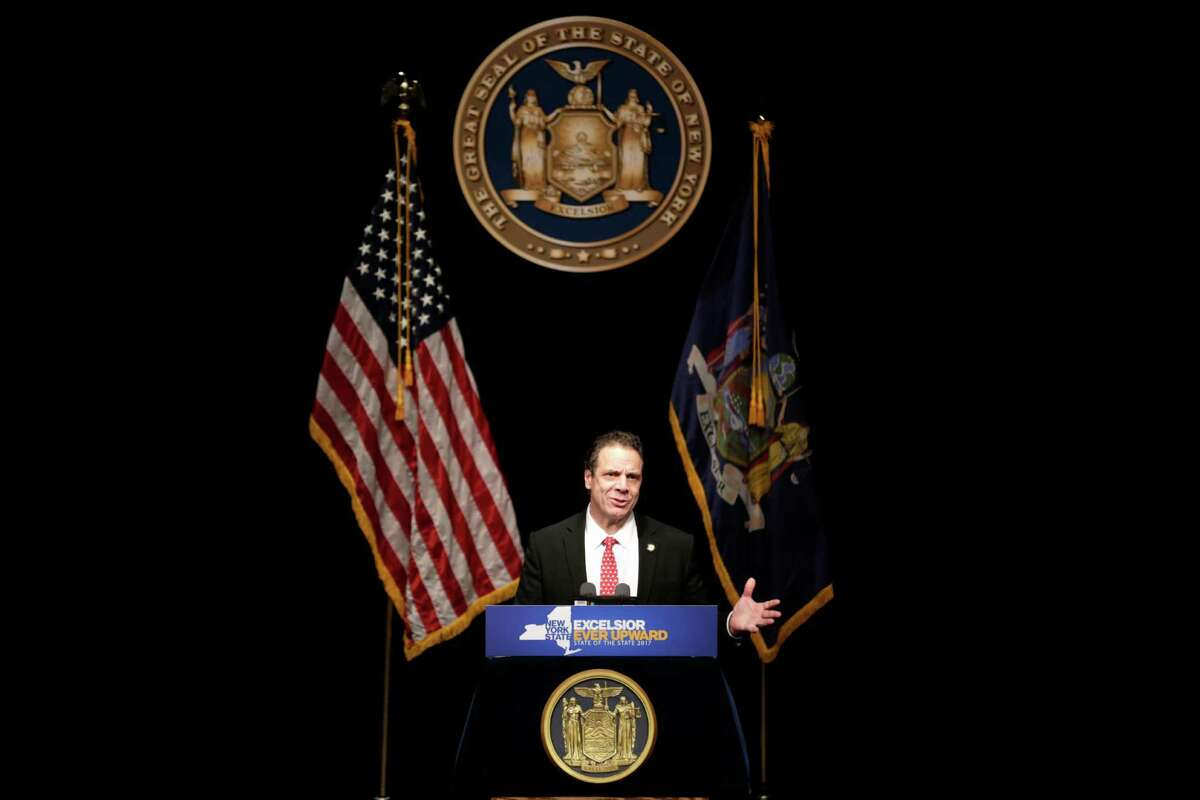 New York Gov. Andrew Cuomo delivers one of his state of the state addresses at SUNY Purchase in Purchase, N.Y., Tuesday, Jan. 10, 2017. (AP Photo/Seth Wenig)