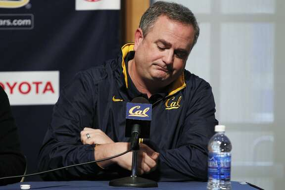Cal football head coach Sonny Dykes talks about the death of football player Ted Agu during a news conference in Haas Pavilion on the camps of University of California at Berkeley on Friday, February 7, 2014 in Berkeley, Calif.