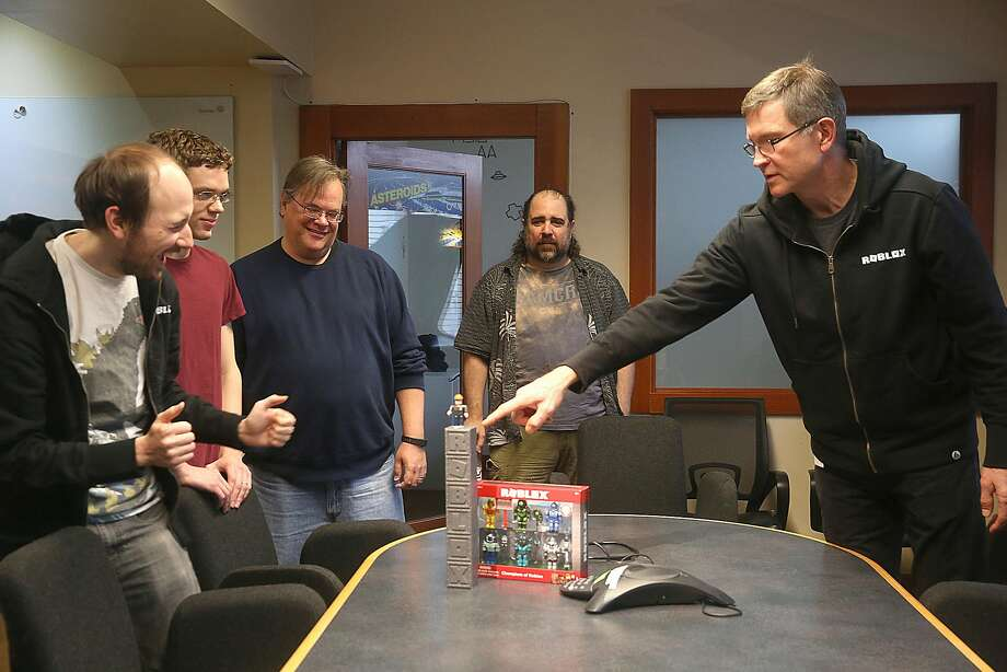 Roblox CEO David Baszucki (right) discusses the toys based on its games. Photo: Liz Hafalia, The Chronicle