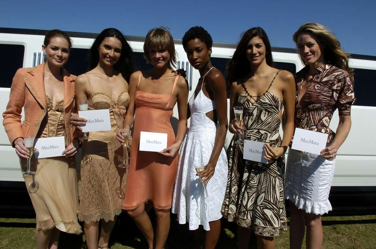 WELLINGTON, FL - APRIL 24: Models pose at The International Polo Club Palm Beach for the U.S. Open Championship on April 24, 2005 in Wellington, Florida. (Photo by Gustavo Caballero/Getty Images)