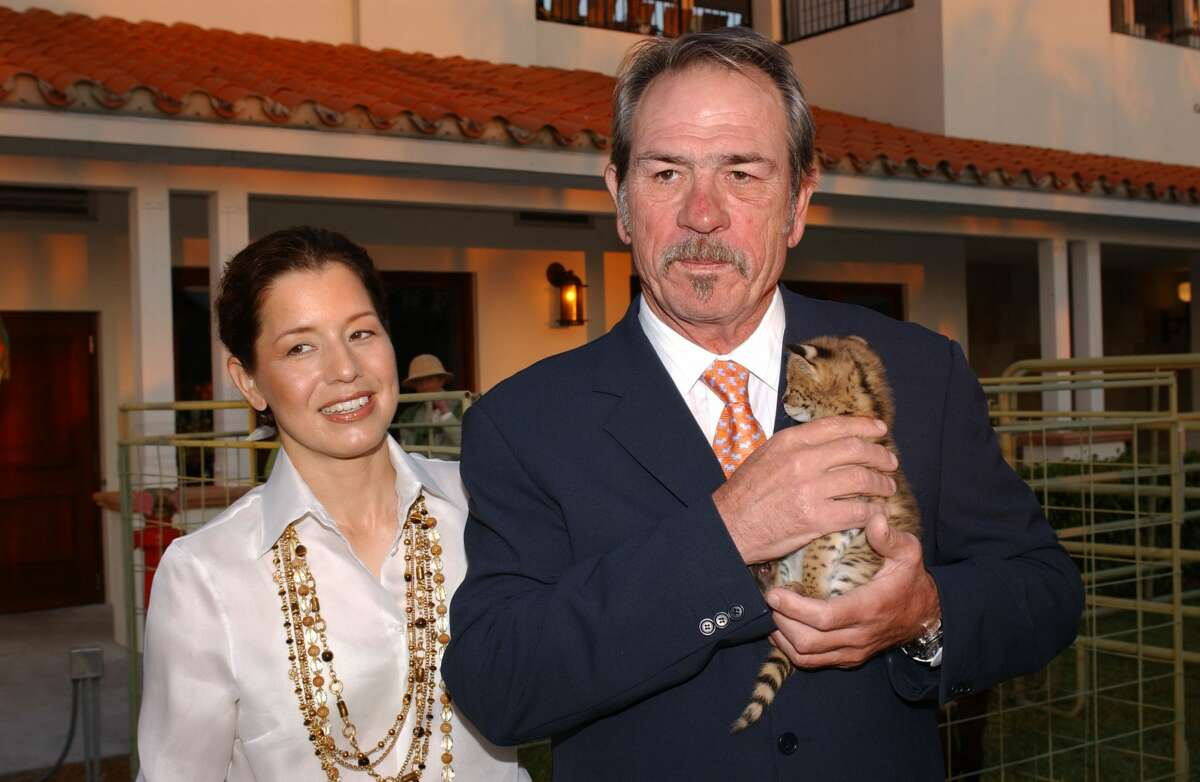 WELLINGTON, FL - APRIL 9: Actor Tommy Lee Jones and wife Dawn pose at the International Polo Club Palm Beach where he attended the Safari Adventure and Celebrity Polo Match to BenefitThe Buoniconti Fund to Cure Paralysis, on April 9, 2005 in Wellington, Florida. (Photo by Byron Saunders/Getty Images)
