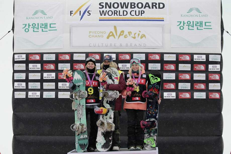 PYEONGCHANG-GUN, SOUTH KOREA - NOVEMBER 26:  Julia Marino of USA takes 2nd place, Anna Gasser of Austria takes 1st place, Katie Ormerod of Great Britain takes 3rd place during Ladies BA Finals the FIS Snowboard World Cup 2016/17 at Alpensia Ski Jumping Center on November 26, 2016 in Pyeongchang-gun, South Korea.  (Photo by Han Myung-Gu/Getty Images) Photo: Han Myung-Gu / Getty Images / 2016 Getty Images