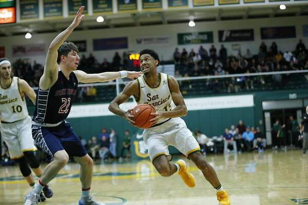 USF Forward Nate Renfro makes a drive to the basket on 1/7/17 at War Memorial Gym in San Francisco, CA during the Men's USF vs St. Mary's basketball game.  St. Mary's won 63-52. Photo Chris M. Leung / USF