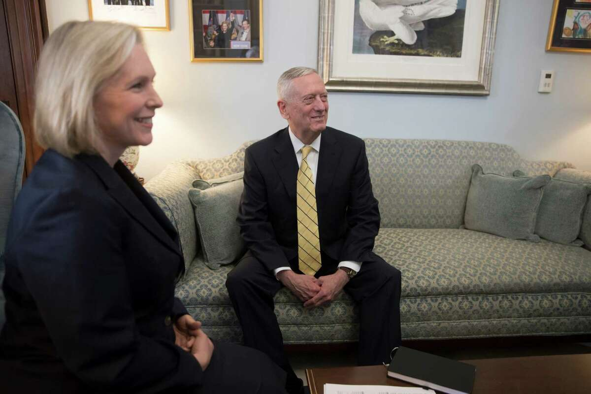 Defense Secretary-designate, retired Marine Corps Gen. James Mattis meets with Senate Armed Services Committee member Sen. Kirsten Gillibrand, D-N.Y., Wednesday, Jan. 4, 2017, on Capitol Hill in Washington. The committee will hold confirmation hearings for Mattis. (AP Photo/J. Scott Applewhite)