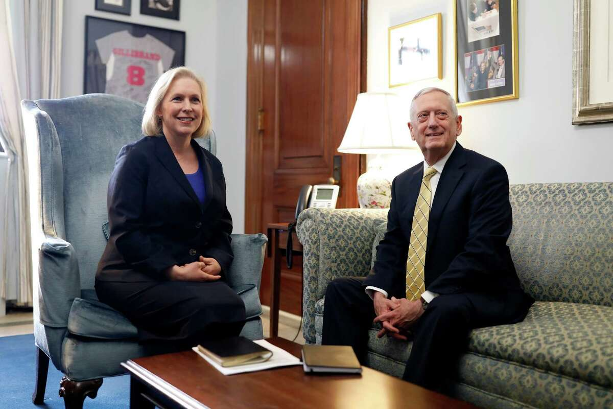 U.S. Sen. Kirsten Gillibrand (D-N.Y.) meets with retired General James Mattis on January 4, 2017 on Capitol Hill in Washington, DC. General Mattis is President-elect Donald Trump's nominee for Secretary of Defense. (Photo by Aaron P. Bernstein/Getty Images)