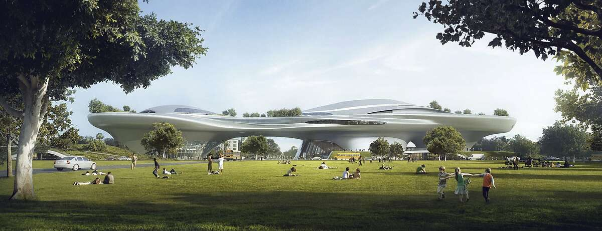 This concept design provided by the Lucas Museum of Narrative Art shows a rendering of their proposed museum in Exposition Park in Los Angeles. In January George Lucas, the legendary filmmaker, is expected to decide whether he will put a museum for his extensive personal art collection in San Francisco or Los Angeles, after other attempts were upended by community opposition. (Lucas Museum of Narrative Art via AP)