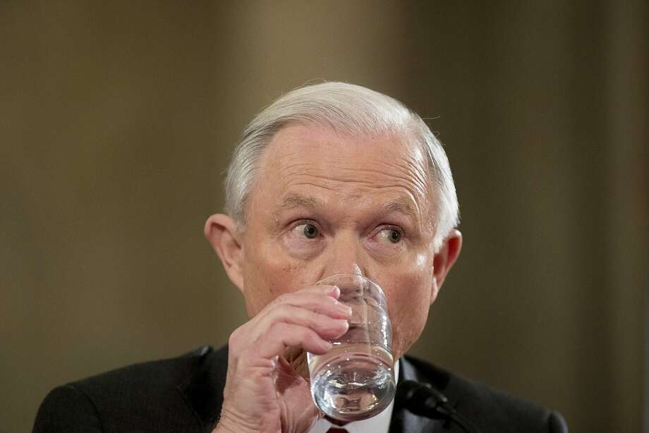 Attorney General-designate, Sen. Jeff Sessions, R-Ala. drinks water as he testifies on Capitol Hill in Washington, Tuesday, Jan. 10, 2017, at his confirmation hearing before the Senate Judiciary Committee'. (AP Photo/Andrew Harnik) Photo: Andrew Harnik, Associated Press