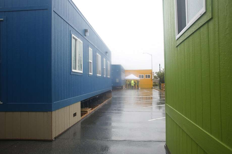 Unlike standard scary-looking shelters, the Dogpatch Navigation Center consists of brightly colored trailers, where the homeless will get a variety of services. Photo: Lea Suzuki, The Chronicle
