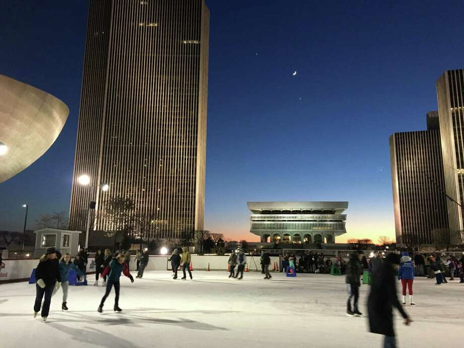 Skaters enjoying an early evening at the plaza on Jan. 1, 2017, in this photo by Olivia Rowley of Albany. (Submitted photo)