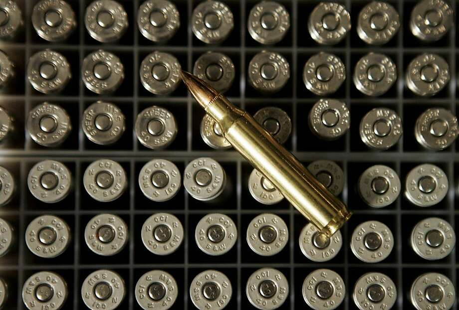 Ammunition is seen at a Milwaukee Police Department range Wednesday, Aug. 15, 2007, in Milwaukee. The Department of Defense is looking for a contractor who could develop eco-friendly training ammunition. Photo: Morry Gash, AP
