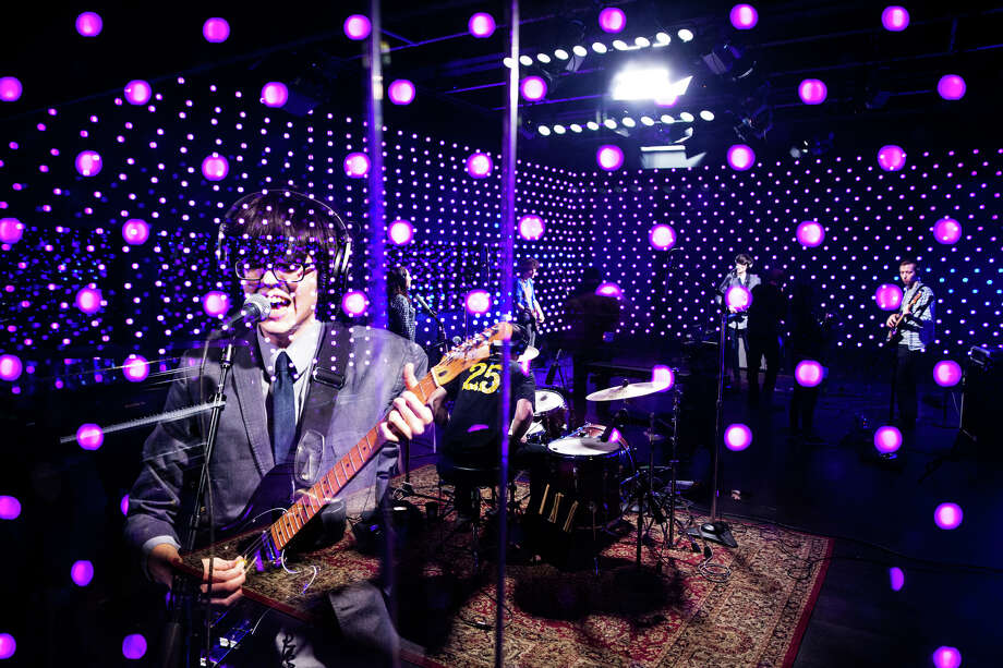 A double-exposure photograph depicts Will Toledo of Car Seat Headrest performing in the first set under the new Microsoft Kinect-powered lighting array in KEXP's new, interactive Live Room, Tuesday, Jan. 10, 2017. Photo: GRANT HINDSLEY, SEATTLEPI.COM / SEATTLEPI.COM