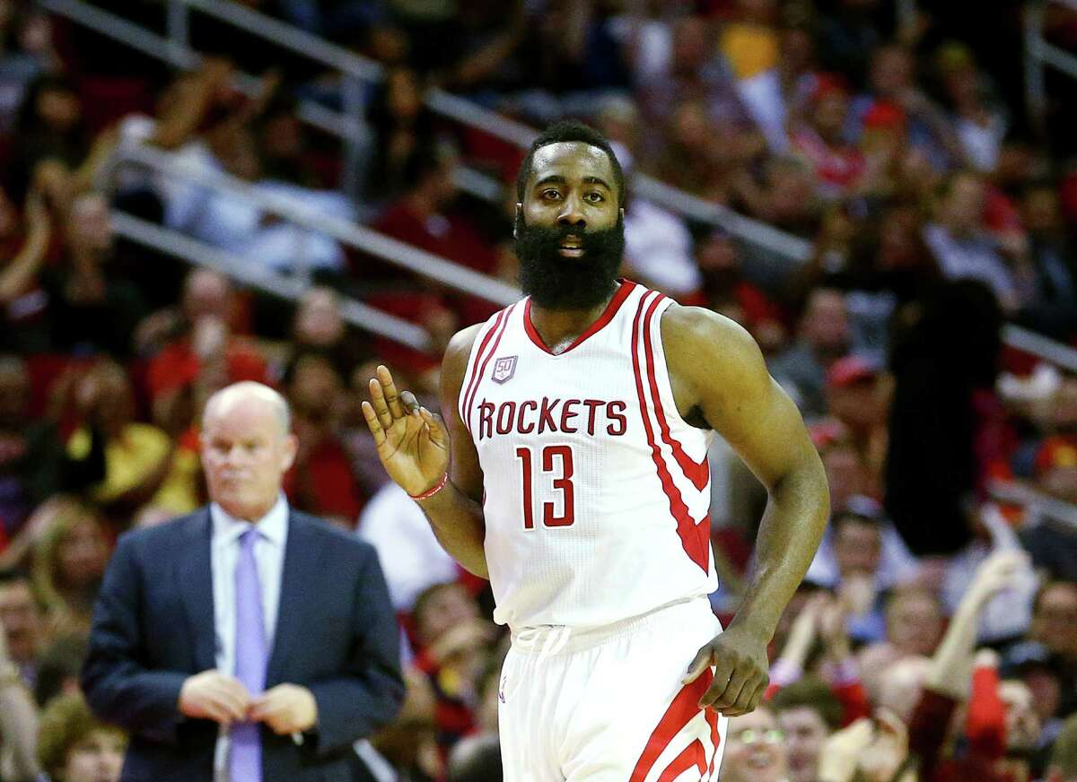 Houston Rockets guard James Harden (13) celebrates after hitting a three-point basket during the second quarter of an NBA game at the Toyota Center, Tuesday, Jan. 10, 2017, in Houston.