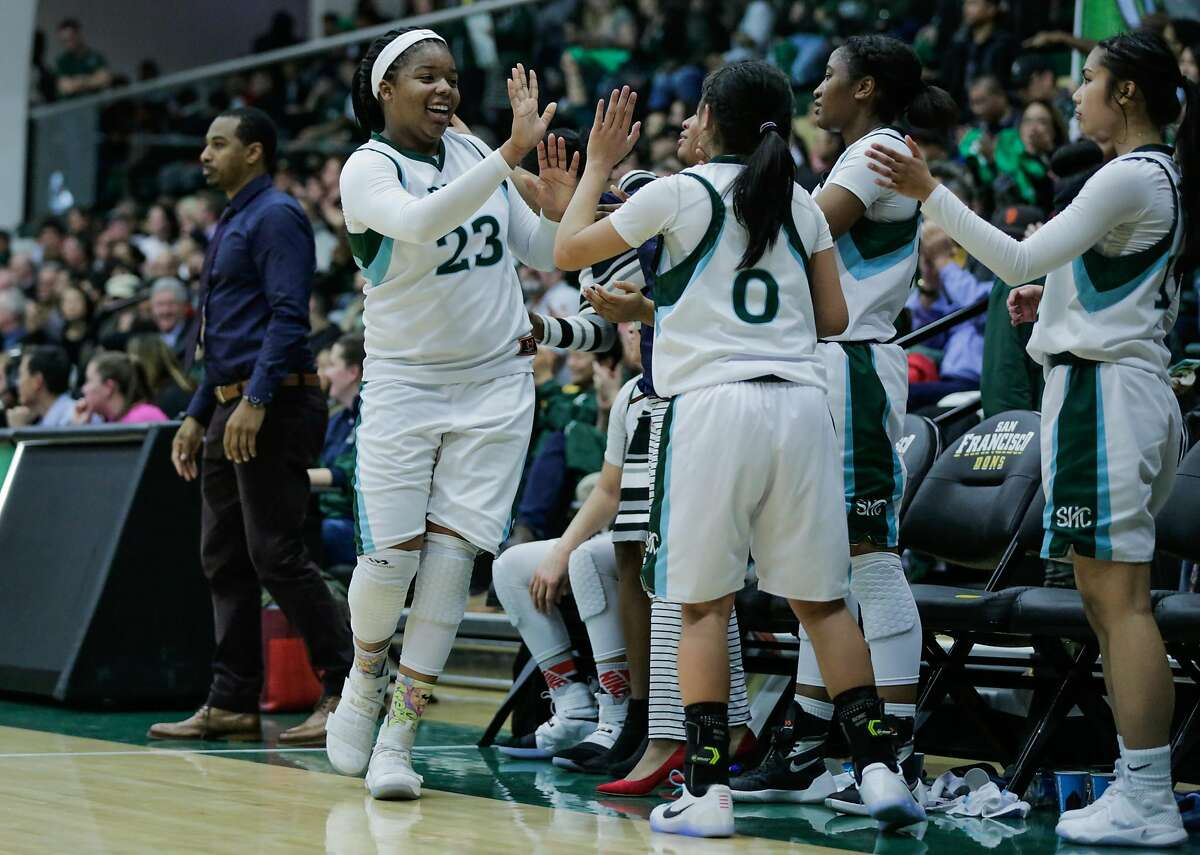 Sacred Heart player IImar'l Thomas (#23) high fives her teammates after coming out of a game, in which they defeated St. Ignatius, at War Memorial gymnasium in San Francisco, Calif., on Tuesday, Jan. 10, 2017.