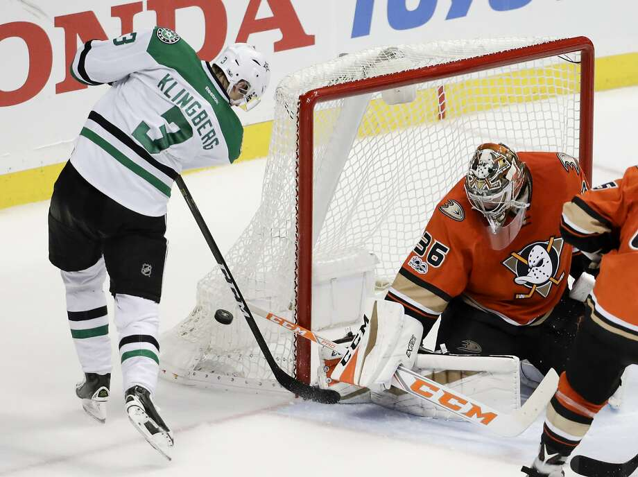 Anaheim goalie John Gibson denies a shot by Dallas defenseman John Klingberg on his doorstep in the third period. Gibson earned his shutout by making 34 saves. Photo: Chris Carlson, Associated Press