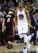 Golden State Warriors' Andre Iguodala enjoys his 4th quarter basket during 107-95 win over Miami Heat during NBA game at Oracle Arena in Oakland, Calif., on Tuesday, January 10, 2017.